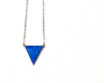 Metallic blue resin necklace / Blue triangle pendant / Antique silver necklace / Cute necklace / Summer necklace / Boho chic / FREE SHIPPING