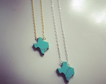 Turquoise Texas Necklace // Turquoise  Layering Necklace // State of Texas Necklace