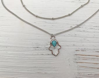 Hamsa Hand Two Layered Necklace