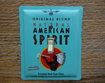 American Spirit Indian Southwestern Aqua Blue Decor Light Switch Cover Switchplate Single Switch Plate Made From An Old Tobacco Tin SP-0241