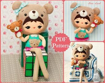 PDF Teddy bear doll with a bear puppet. Plush Doll Pattern, Softie Pattern, Soft felt Toy Pattern.