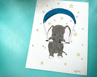Elephant in The Stars- 9x12 illustration- wall art- nursery art