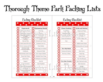 Packing Lists - Thorough Theme Park Packing Lists - Mini Pages 5.5 x 8.5