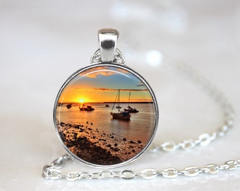 Sunset Glass Pendant, Photo Glass Necklace, Glass Keychain, Glass Jewelry