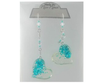 Turquoise Glitter Mismatched Floating Hearts Dangle Earrings