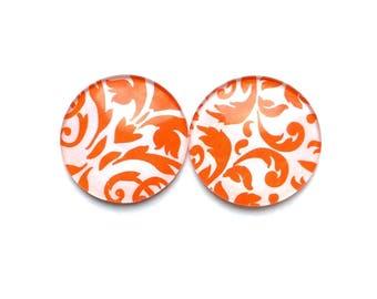 Glass Magnets - Refrigerator magnets - Orange Magnets - Decorative Magnets - Damask Magnets - Magnets - Office Magnets -Damask Decor