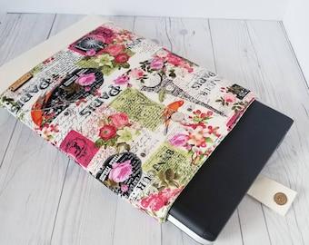 Pink Green Laptop Sleeve, Paris, Laptop Case, Tablet Sleeve, Tablet Case, Macbook Sleeve, Macbook Case, 12 inch, 13 inch, 14 inch, 15 inch