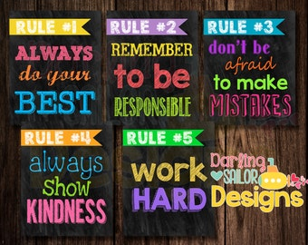 Classroom Rules, 5 Rules, Rules signs, Chalkboard Rules, 8x10 or 16x20 Digital File, Print on your own