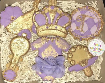 Royal Purple and Gold Baby Shower Cookies  - 1 Dozen (12 Cookies)