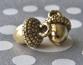 Acorn Gold Plated Pewter 10mm Charms : Two pc Gold Acorn Charm