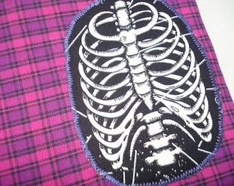 Ribcage Pouch: Pink Plaid, Glow in the Dark.
