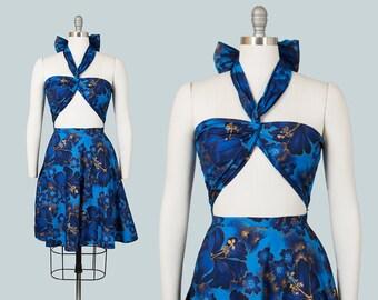 Vintage 1960s Dress | 60s Hawaiian Hibiscus Floral Print Cotton Wrap Top Blue Gold Tiki Sundress (medium)
