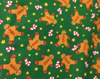 100% Cotton Fabric Christmas Gingerbread Men