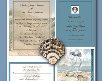 Digital Seashore Invitation Package Editable Download