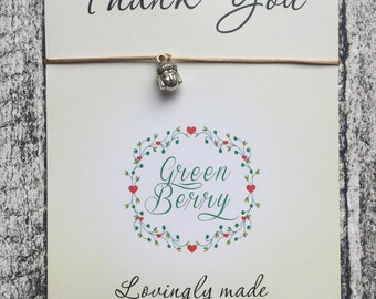 "Thai Buddha charm String Bracelet on ""Thank You"" quote card budda thankyou madebygreenberry wish bracelet"