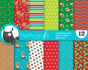 80% 0FF SALE Christmas reindeer digital paper, commercial use, scrapbook papers, background, polka dots, stripes - PS904