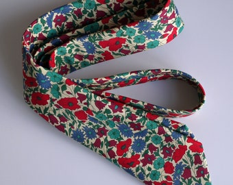 Liberty print tie - red and blue floral tie - Liberty tie - Poppy and Daisy