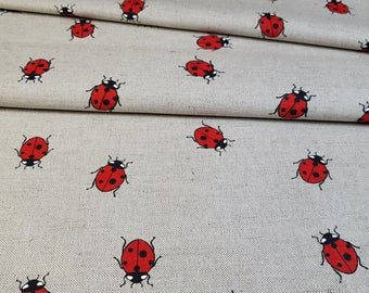 Linen - cotton fabric with ladybird
