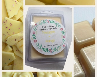 Pineapple & Mango soy wax melts , natural wax , summer scent , Highly scented, uk