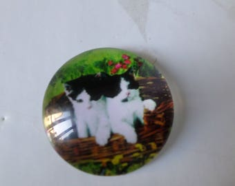 x round cameo/cabochon glass 20 mm Kitty motif
