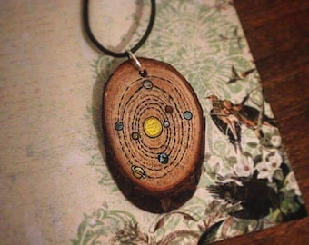 Handpainted Wooden Solar System Necklace