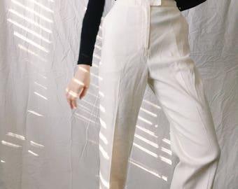 Womens White Linen Pants, size 10