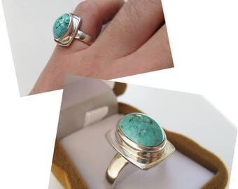 Women's silver ring, ring for women, vintage silver ring, turquoise ring, ring with turquoise, vintage turquoise, natural turquoise
