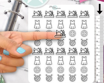 Clear Sewing Stickers Sewing Machine Stickers Knit Stickers Planner Stickers Erin Condren Functional Stickers Daily Chore Stickers 451