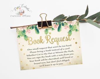 Book Request Card for Baby Shower / Printable Cactus DIY Party Game