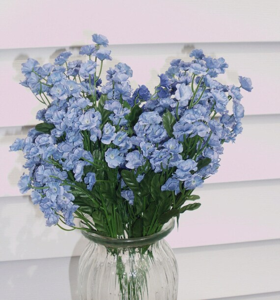 Blue Silk Double Babys Breath Filler Flower, Your choice of 6 or 12 ...