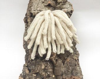 Fiber Sculpture: Lion's Mane Fungus on Cork Bark