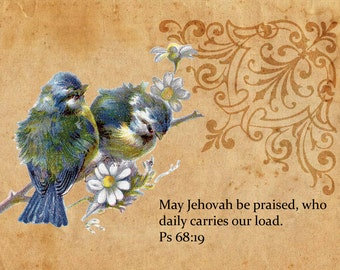 Scriptural Greeting Card Set of Psalm 68:19