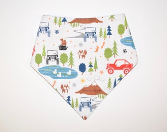 J is for Jeep (Blue), Reversible Dog Bandana, Snap Closure Bandana