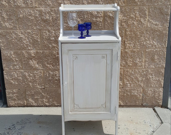 PICK UP ONLY, Vintage cabinet coffee bar, wine bar, farmhouse storage cabinet, pantry, country cottage, rustic, distressed shabby chic