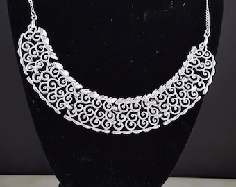 Silver Spiral Statement Necklace, Bib Necklace, Cleopatra Necklace, Chain Link Necklace, Handmade Necklace