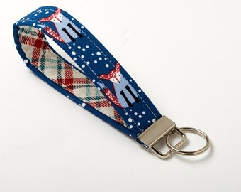 Fox Key Chain, Woodland Key Fob, Keychain Wristlet - Navy - Fox Accessories