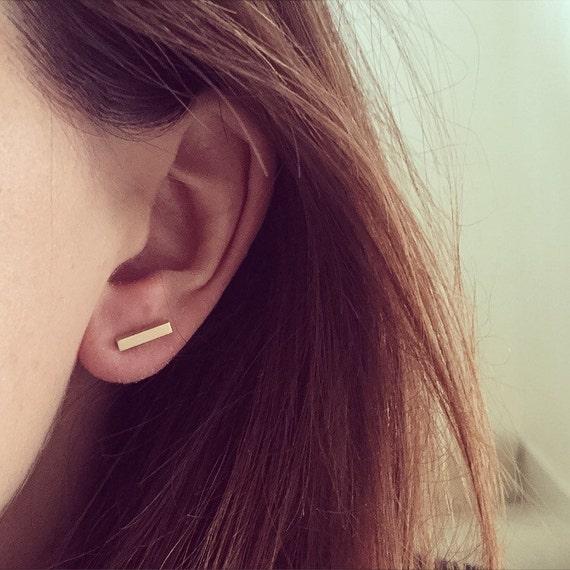 Line Bar Studs 9ct rose gold Earrings RdGHAs7