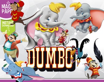 Dumbo Clipart - Disney Digital 300 DPI PNG Images, Photos, Scrapbook, Digital, Cliparts - Instant Download