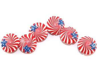 Patriotic beads, polymer clay lentil beads, USA flag beads, Independence Day, stars and stripes beads, American flag beads, 4th of July