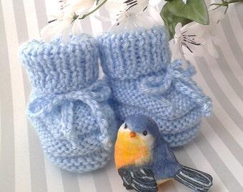 Baby Boy Booties, Blue Baby Booties, Hand Knitted Baby Booties, Blue Crib Shoes, Baby Boy Slippers, Newborn Boy Booties, Baby Shower Gift