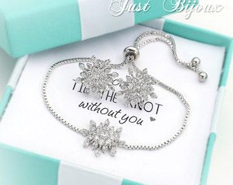 Wedding Earrings Bracelet Platinum plated Snowflake Zirconia Earrings Bracelet Wedding Jewelry Bridal Jewelry Christmas Jewelry Bridesmaid