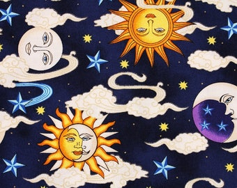 Celestial Sun Moon Stars Cloud printed Cotton Fabric by the Half Yard