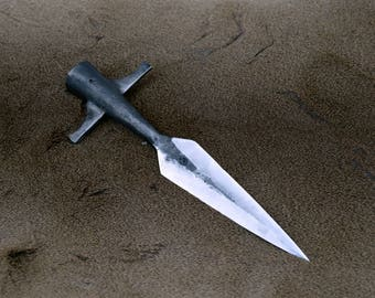 Hand forged winged spear