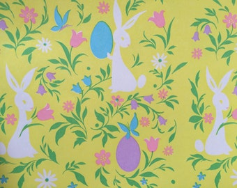 Easter gift wrap etsy vintage gift wrapping paper floral easter paper groovy retro easter bunny with eggs negle Images