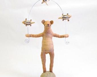 Spun Cotton Vintage Style Woodland Circus Chipmunk Juggling Bear Figure (MADE TO ORDER)