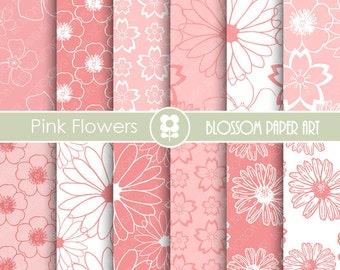 Pink Digital Paper, Floral Digital Paper Pack, Digital Paper Pack, digital backgrounds, Pink FLowers Wedding Papers -1676