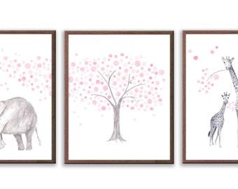 Elephant Nursery Decor, Baby Girl Nursery, Pink and Gray Nursery, Watercolor Nursery art, Elephant and Giraffe, Set of 3 Prints - S023W