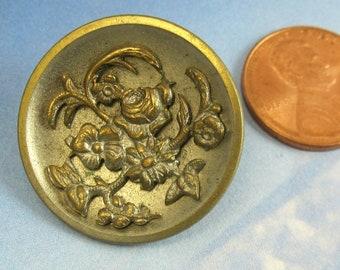 Antique Victorian Button Floral 1 Inch Large Brass Metal Button 148