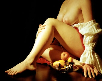 Artistic nude photography warm color painted look - Caravaggio on Film - 04