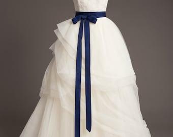"Midnight Blue Wedding Sash - 1.5"" - Romantic Luxe Grosgrain Ribbon Sash - Wedding Belt, Bridal Sash, Bridal Belt - Wedding Dress Sash"